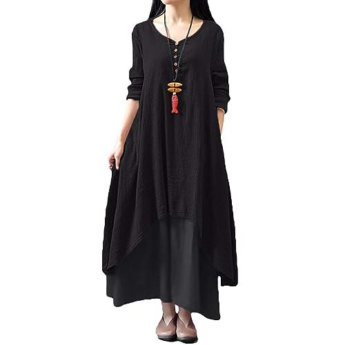 f66aedf0eb0 Romacci Women Boho Dress Casual Irregular Maxi Dresses Vintage Loose Long  Sleeve Cotton Viscose Dress