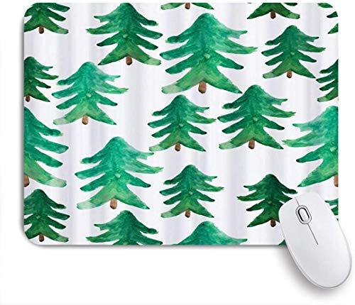 Dekoratives Gaming-Mauspad,Weihnachtsbäume Aquarell Green Pine Farmhouse,Bürocomputer-Mausmatte mit rutschfester Gummibasis