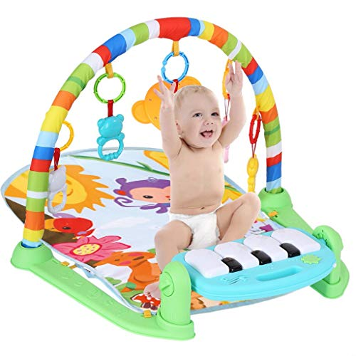 Printasaurus Play Mat Activity Gym for Baby, Baby Game Pad Music Pedal Piano Music Fitness Rack Crawling Mat with Hanging Toys, Lay to Sit-Up Play Mat Activity Center for Infants and Toddlers
