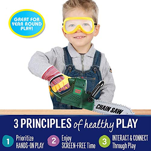 Liberty Imports Kids Electric Chainsaw Toy Tool Pretend Play Set with Safety Goggles, Work Gloves | Rotating Chain and Realistic Sound Effects