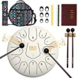 FOUR UNCLES Steel Tongue Drum, Percussion Instrument Handpan Drum C Key with Bag, Music Book and...