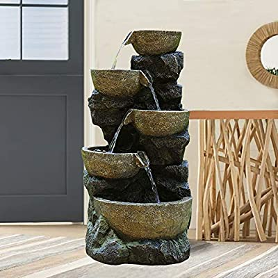 """BBabe Faux Stone LED Floor Fountain 39 2/5"""", Bell 5-Tier Waterfall Outdoor Fountain LED Illuminated Water Feature for Patio Garden"""