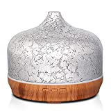 500ml Essential Oil Diffuser Silver Plated Glass Aromatherapy Ultrasonic Humidifier - Auto Shut-Off,Timer Setting, BPA Free for Home Hotel Yoga SPA Gift