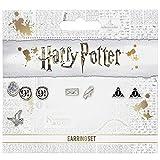 Juego de pendientes de tuerca oficial de Harry Potter que incluye plataforma 9 3/4, Hedwig y Letter, y los pendientes de las Reliquias de la Muerte de The Carat Shop