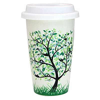 Tree With Birds Ceramic Coffee Travel Mug With Lid
