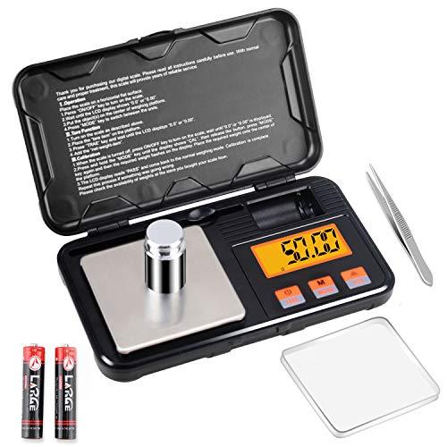 Supkitdin Báscula Digital, Balanzas de Portátiles, con Pantalla LCD, Multifuncional Báscula de Precisión con Peso de Calibración 50g, 6 Unidades, Tara y Función de Apagado Automático,Café-200g x 0.01g