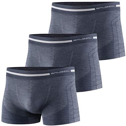BRUBECK 3er Pack Herren Boxershorts | Atmungsaktiv | Sport | Unterhose | Funktionsunterwäsche | Briefs | Retro | 41% Merino-Wolle | BX10430, Größe:L, Farbe:Marineblau