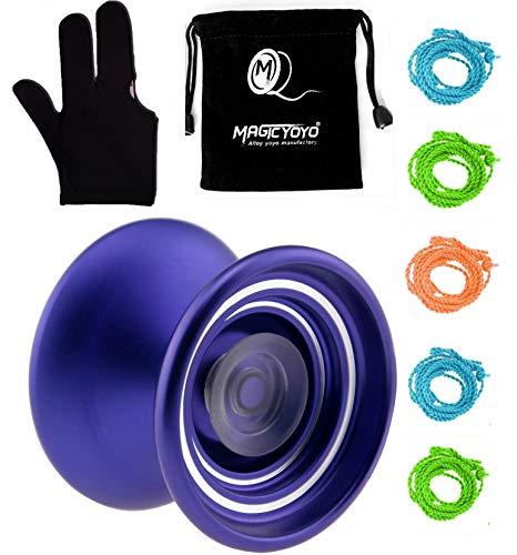 MAGICYOYO Responsive Aluminum Metal Yoyo K7 for Beginners with Yoyo Bag+ Yoyo Glove+5 Yoyo Replacement Strings (Purple)