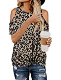 WLLW Women Leopard Cold Shoulder Twisted Blouses Round Neck Stylish Tops Coffee