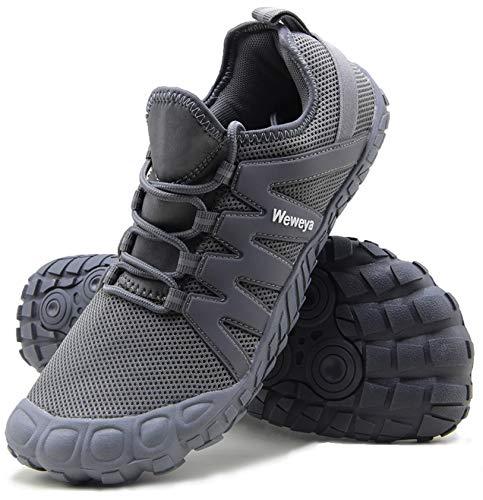 Cross Training Shoe Mens Five Fingers Minimalist Running Zero Drop Wide Toe Box Barefoot Tennis Shoes Grounding Discus Track Size 9.5 Grey