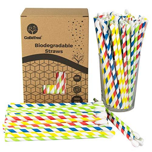 GoBeTree 300 Cannucce di Carta biodegradabili Colori Assortiti a Forma di Cucchiaio Cannuccia Monouso Ecologico Compostabile Cannucce per feste, compleanni. Bevande fredde e calde.