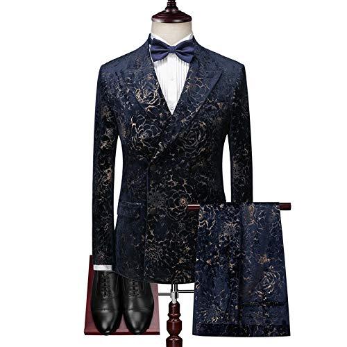 MarXixi Herren Abendkleid Gentleman Zweireiher Anzug/bedruckter Anzug Anzug 3 Stück (Blazer + Weste + Hose) Anzug-Navy_3XL_for_75-81_kg