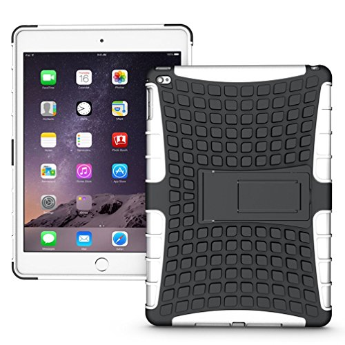 Extremely Cool Dual layer iPad Air 2 Case, Tab Pow [Hybrid Shockproof Case] Rugged Double-Layer Shock-Resistant Drop Proof Built-in stand Defender Case Cover with KickStand [Full Warranty] for Apple iPad Air 2 with Retina Display.(White)