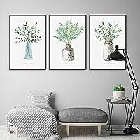植物キャンバス絵画緑の植物鉢植えの植物家の装飾ポスターキャンバスの写真寝室の部屋の壁の芸術の装飾70x95cmx3Pcsフレームなし