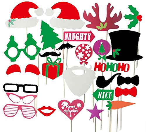 AprilElst 28 stuks Kerstmis foto Booth Props op een staaf leuke grappige bril hoed snor party mascarade masker DIY favoriet voor Xmas party familie decoratie accessoires