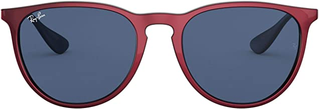 RAY-BAN RB4171F Erika Round Asian Fit Sunglasses, Top Metallic Red On Black/Dark Blue, 54 mm