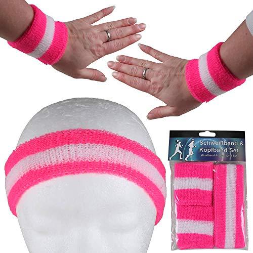 Alsino Stirnband Schweißband Set Damen Herren Sport Elastisch Schweissband Fitness Gestreift Stirn Retro Frottee 80er Jahre Schweißbänder Fasching Karneval (neon pink - weiß)
