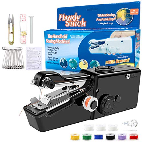DREFXYH Portable Sewing Machine, 18 PCS Mini Cordless Handheld Stitch Electric Household Tool for Fabric, Kids Cloth, DIY, Clothing, Home Travel Use(Black)