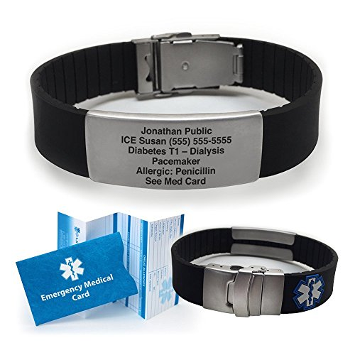 Silicone Sport Medical Alert ID Bracelet - Black (Incl....