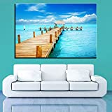 wtnhz Cartel de impresión en Lienzo HD Imagen de Arte de Pared Cielo Azul mar Puente Largo Vista al mar Sala de Estar decoración del hogar Sin Marco