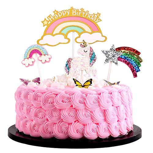 Artczlay Happy Birthday Cake Topper Rainbow Unicorn Color Super Flash Cake Topper Creative Birthday Party Decoration 4 Pieces