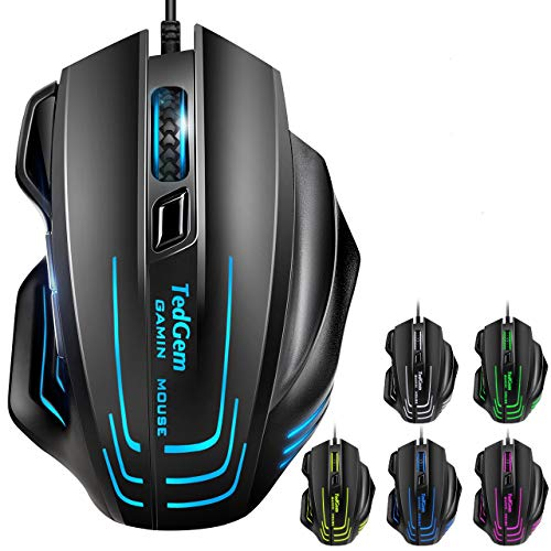Gaming Mouse, TedGem Wired Mouse Gaming Mouse Wired Computer Mouse Wired PC Gaming Mouse UP to 7500 DPI, 7 Programmable Buttons, Ergonomic Gaming Mice for Windows XP, Vista, WIN7, WIN8, Win10, MAC