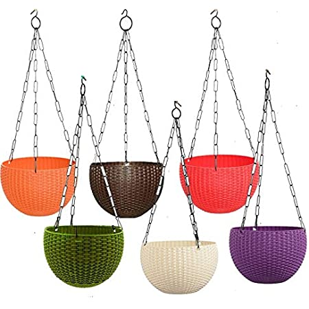 """Antier 6"""" Woven Design Hanging Euro Basket Planters Indoor Outdoor Hanging Flower Plant Pot with Hanging Chain (Pack of 6)"""