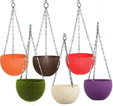 """Antier 6"""" Woven Design Hanging Euro Basket Planters Indoor Outdoor Hanging Flower Plant Pot with Hanging Chain (Pack of 6"""