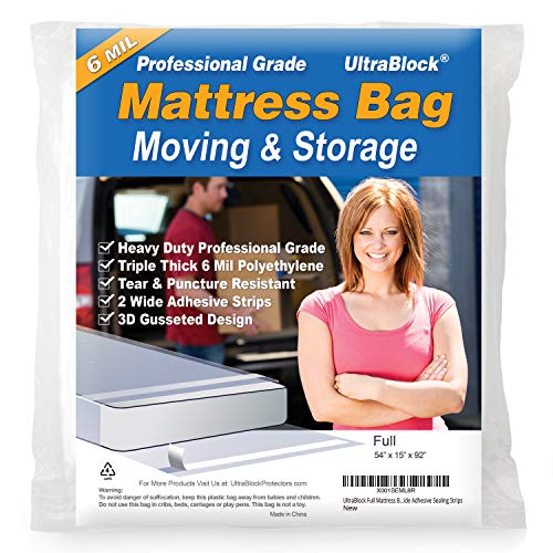 UltraBlock Mattress Bag for Moving, Storage or Disposal - Full Size Heavy Duty Triple Thick 6 Mil Tear and Puncture...