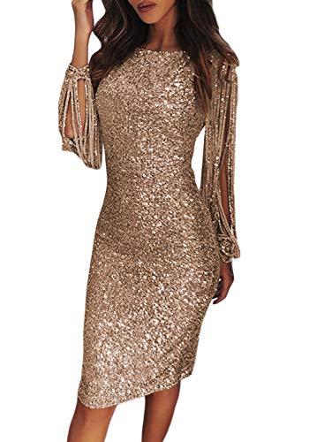 FIYOTE Robe Femme Robe Cocktail au Genou Robe Soirée Manches Longues à Franges Robe Moulante à Paillettes Col Rond Couleur Unie Nude L(EU44-46)