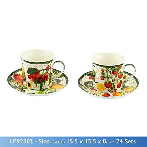 Leonardo Neuf Fruits Motif Jardin en Porcelaine Fine Tasse et Soucoupe en Forme de Poire Prune Cherry
