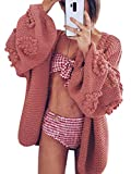 Simplee Women's Oversized Lantern Sleeve Cable Knit Loose Cozy Open Front Cardigan Sweaters (Rose 10)