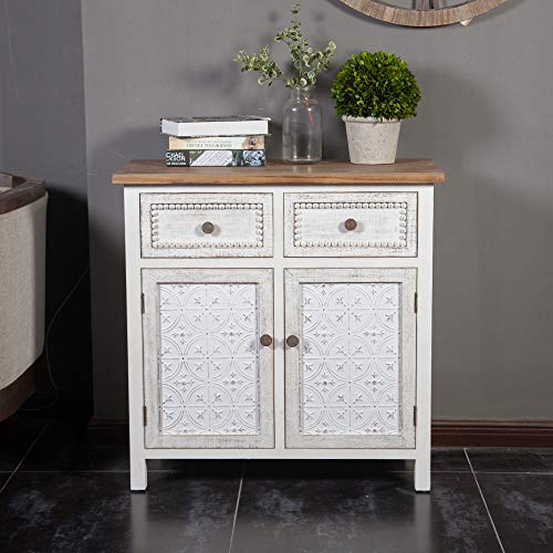 Luxen Home White Wood and Metal Buffet Console Cabinet