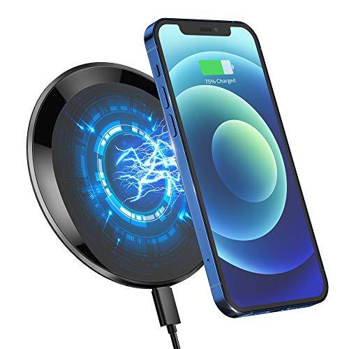 Cargador Inalámbrico 15W Rápido Magnética, Base de CNC Alloy USB-C PD18W QC3.0 Qi Wireless Charger 15W/10W/7.5W/5W para iPhone 12/12Pro/SE/11/11Pro/XS/XR/X/8, Airpods, Sumsung, Android (01, N)