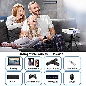 "TOUMEI K1 Mini Beamer, Unterstützung von HD 3D-Filmen, DLP Android OS 6.0 4000 Lumens Unterstützung 4K Max 300"" Display, Film Projektor Kompatibel iPhone / Smartphone / PC / TV-Stick / Laptop / PS4"