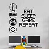 Eat Sleep Play repeat Choisissez votre pièce d'enfant Vinyle mural Décalque Garderie Des gamins Joueurs art adolescent vidéo Jeu mural