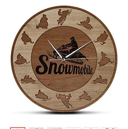 Extreme 12 Pollici Snowmobile Riders Silhouette Art Wood Texture Neve Giochi Invernali Decorazioni per la casa Motoslitte Orologio da Parete con Stampa acrilica