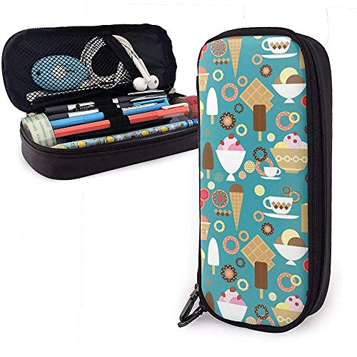 Italiaanse ijs potlood etui briefpapier organisator multifunctionele make-up tas dubbele rits leder-75B-5O