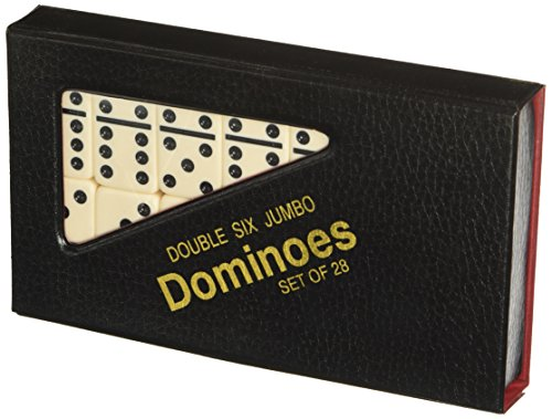 CHH Black/Cream Color Double 6 Jumbo Size Domino Tiles in Snap Vinyl Case