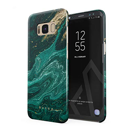 BURGA Hülle Kompatibel mit Samsung Galaxy S8 - Handy Huelle Grün Smaragd Juwel Marmor Muster Emerald Green Gold Marble Mädchen Dünn Robuste Rückschale aus Kunststoff Handyhülle Schutz Case Cover