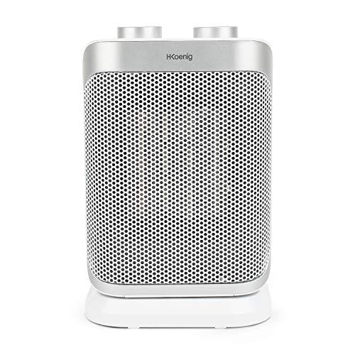 H.Koenig Warm8 - Mini Calefactor Eléctrico Cerámico, Bajo Consumo, 2 Niveles, 1500 W, Ideal para Baño, con Función...