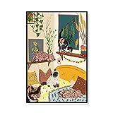 Dibujos Animados Lienzo Niños Ilustración Poster Impresiones Vivero Pared Arte Nórdico Estilo Lienzo Pintura Niños Hogar Animal Gato Pared Cuadros Decoracion 50x70cmx1 No Marco
