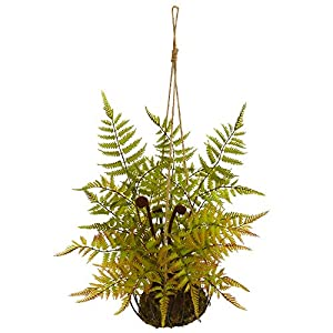 """Silk Flower Arrangements Nearly Natural 21"""" Fern Artificial Metal Hanging Basket Silk Plants Green"""