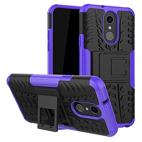LFDZ LG Q7 Tasche, Hülle Abdeckung Cover schutzhülle Tough Strong Rugged Shock Proof Heavy Duty Hülle Für LG Q7 Smartphone (mit 4in1 Geschenk verpackt),Violett
