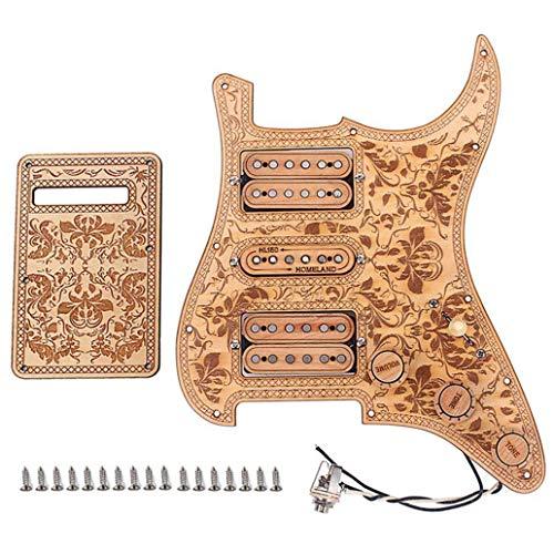 Nrpfell Pastillas de Pickguards de Guitarra EléCtrica Precableada con Carga HSH de Arce de 3 Capas y 11 Agujeros