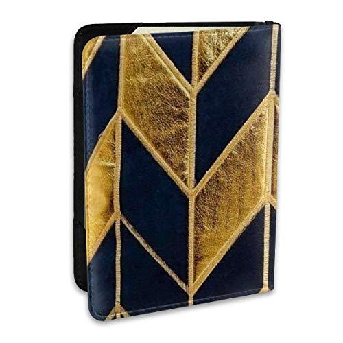 Funda de cojín a Rayas de Oro Azul Marino European-1_Art Fundas de Pasaporte, Billetera de Pasaporte y Soporte de Pasaporte Accesorios de Viaje