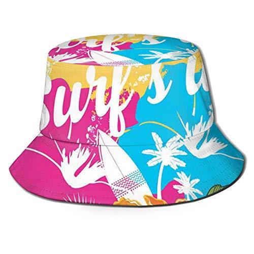 SUHETI Sombrerode Pescador Visera,Ramo de Flores de Hibisco Hawaiano Tropical y Frase de Surf con Tabla de Paleta,con Gorra Protección contra Sol UV Transpirable Sombrero