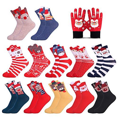 Rongli Weihnachtssocken, 13 Paar Christmas Socks Kuschelsocken Baumwollsocken Festliche Socken Design für Damen und Herren 12 Paar Und 1 Paar Weihnachtshandschuhe (13 Paar)