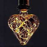 GBLY LED Glühbirne Deko E27 Vintage Glühlampe Herz Warmweiß LED Birne Kreative Lichterkette Herzförmige Dekorative Beleuchtung für Haus, Party, Hochzeit, Bar, Festdekorationen, nicht Dimmbar