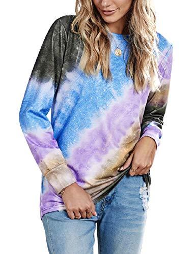 Yesgirl Tie Dye Sweatshirt Damen Langarmshirt Rundhals Farbverlauf Casual Pullover Oberteile Mode Bluse Tunika Top C Blau XS
